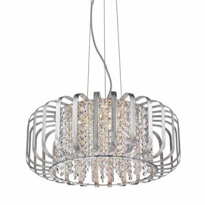 lampa wisząca z dekoracyjnym kloszem i sznurkami kryształków, styl nowoczesny glamour