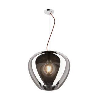 Lampa wisząca Minas - Zuma Line - szary, szklany klosz