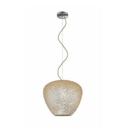 lampa wisząca ze szklanym, połyskującym kloszem w złotym odcieniu