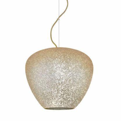 lampa wisząca z kloszem w złotym odcieniu, szklana, klosz jak niebo pełne gwiazd