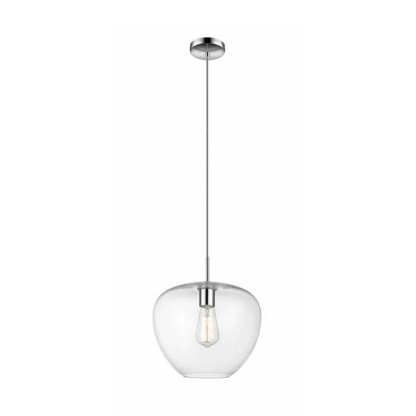 nowoczesna lampa wisząca ze szklanym kloszem, bezbarwne, transparentne szkło klosza, lampa industrialna