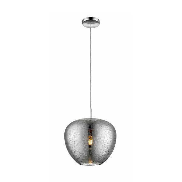 szara, szklana lampa wisząca z efektem deszczu