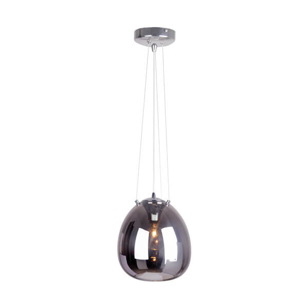 lampa wisząca z oryginalnym, szklanym kloszem ze szkła barwionego na szaro