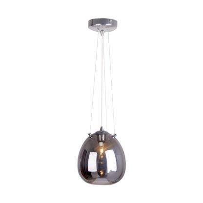 lampa wisząca ze szklanym kloszem szarym
