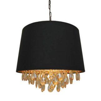 Elegancka lampa wisząca Nancy - Zuma Line - czarny abażur, kryształki