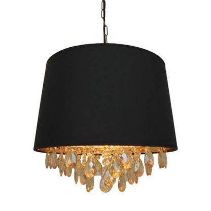 czarna lampa wisząca z dekoracyjnymi kryształkami
