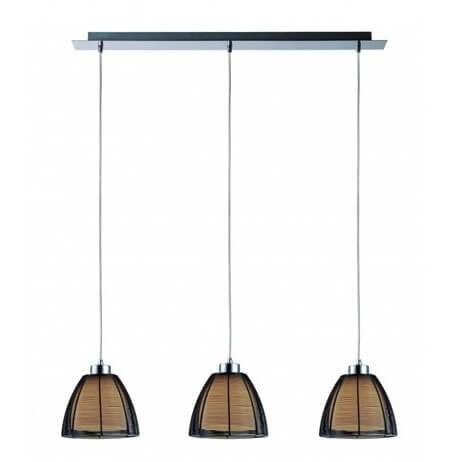 szynowa lampa wisząca z trzema kloszami, lampa nad stół