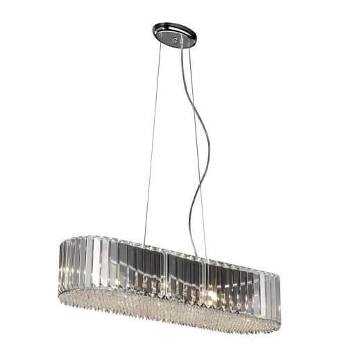 długa lampa wisząca z dużym kloszem z pionowych kryształów, lampa w stylu glamour, pionowe kryształy