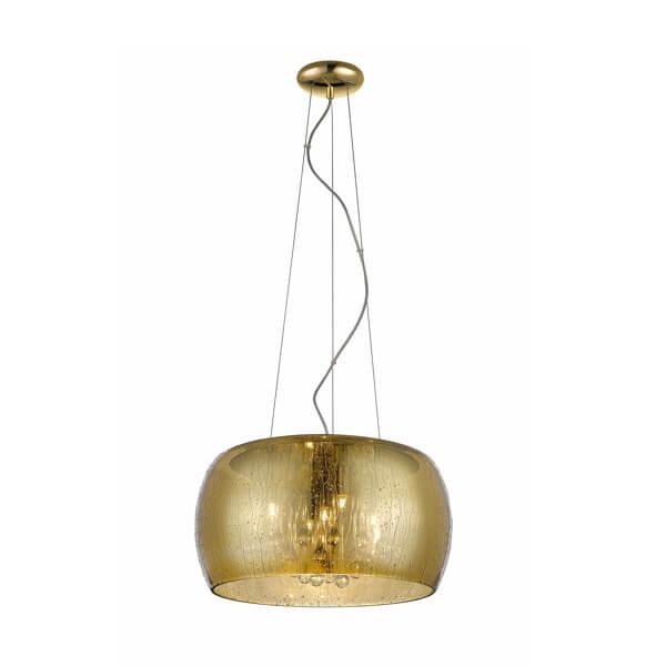 złota lampa wisząca ze szklanym kloszem z efektem kropli deszczu