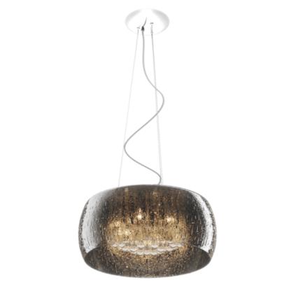 duża lampa wisząca ze szklanym kloszem z efektem deszczu, szary klosz