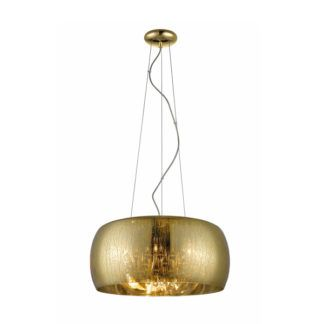 Duża lampa wisząca Rain - Zuma Line - złoty klosz, dekoracyjne kryształki