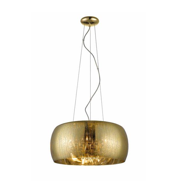 złota lampa wisząca z kryształkami i efektem deszczu