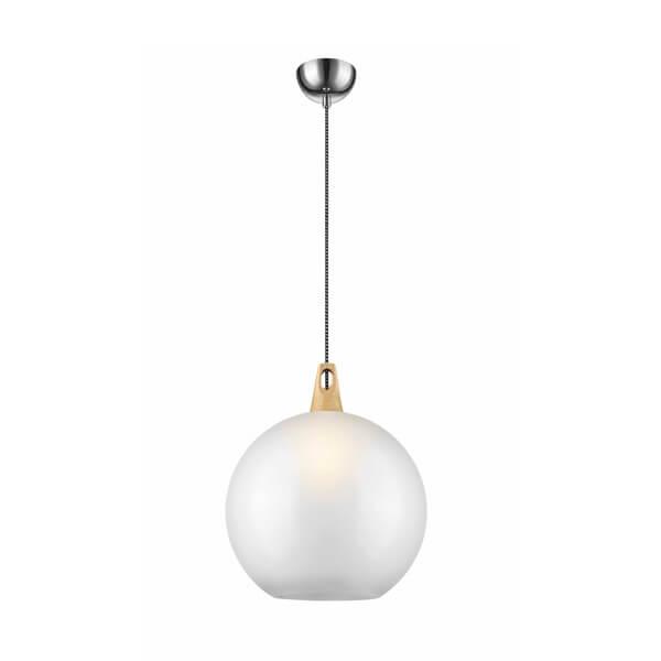 lampa wisząca ze szklanym, mlecznym kloszem i drewnianym detalem