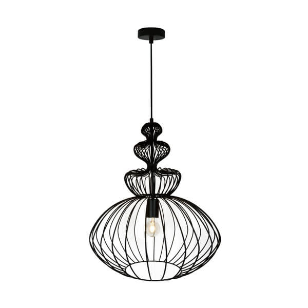 druciana, czarna lampa w ciekawej i oryginalnej formie, industrial, nowoczesna