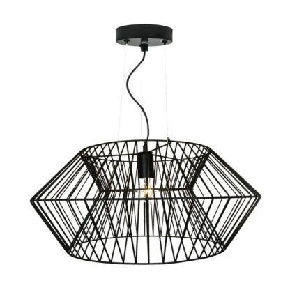 druciana, czarna lampa wisząca z geometrycznym kloszem