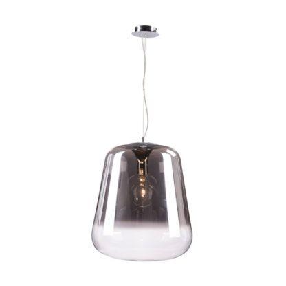 szara, szklana lampa wisząca z dużym kloszem