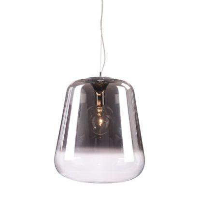 lampa wisząca z dużym, szklanym kloszem szara