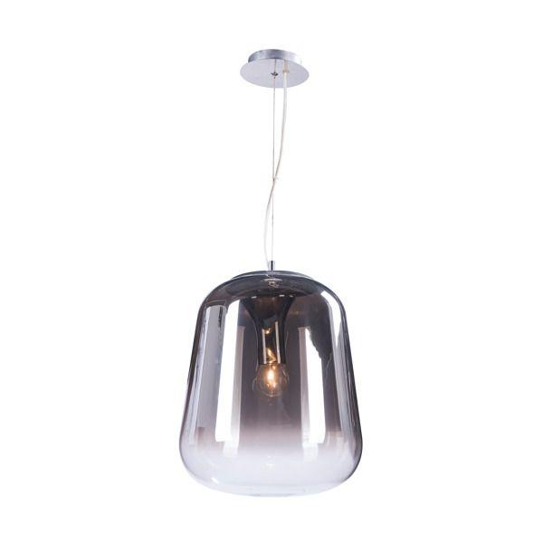 szara, szklana lampa wisząca w stylu nowoczesnym, szklana bańka