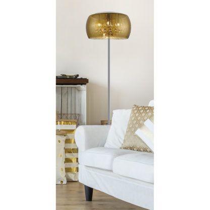 lampa podłogowa z efektem deszczu - salon jasna aranżacja ze złotem