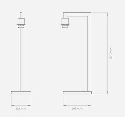 lampa stołowa z metalową, prostą podstawą, minimalistyczny design