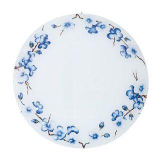 Szklany plafon Serena - Kolarz - biały klosz w niebieskie kwiaty