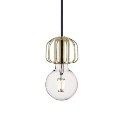 złota lampa wisząca, minimalistyczna, złote zawieszenie