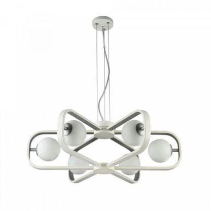 futurystyczny żyrandol z mlecznymi kulami w metalowej oprawie