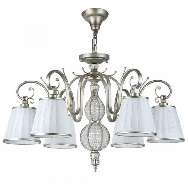 elegancki żyrandol w klasycznym stylu, białe abażury i kryształy