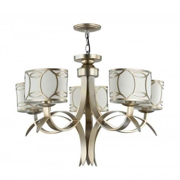 złoty żyrandol z białymi abażurami, złoty wzór, styl modern classic