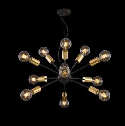 czarno-złoty żyrandol w stylu industrialnym, sputnik