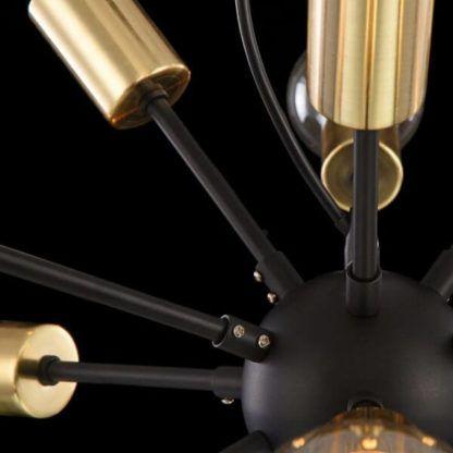 lampa wisząca typu sputnik, industrial, czarno-złota