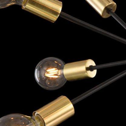 lampa wisząca sputnik z odsłoniętymi żarówkami, industrial