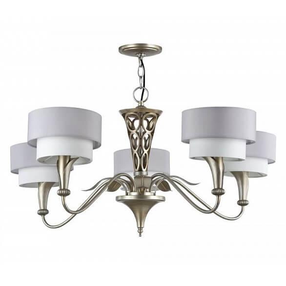 elegancki żyrandol z podwójnymi, materiałowymi kloszami biało-szarymi