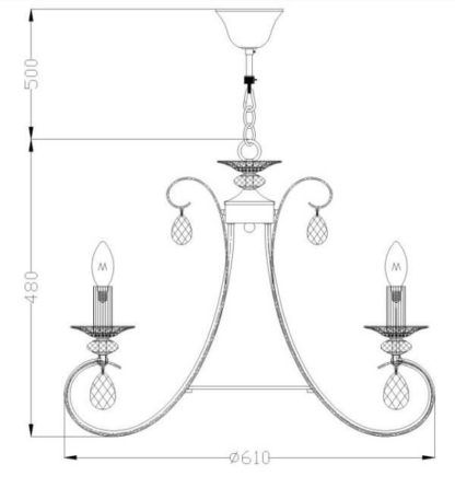 klasyczny, luksusowy żyrandol brązowy ozdobiony kryształkami