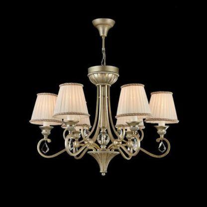 klasyczny żyrandol złoty, delikatnie ozdobiony kryształkami