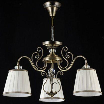 brązowo złoty żyrandol z białymi abażurami, vintage