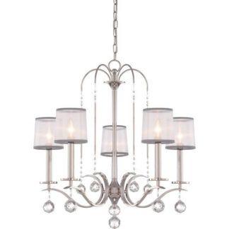 Elegancki żyrandol Whitney 5 – Ardant Decor – srebrny, klasyczny, jasne abażury