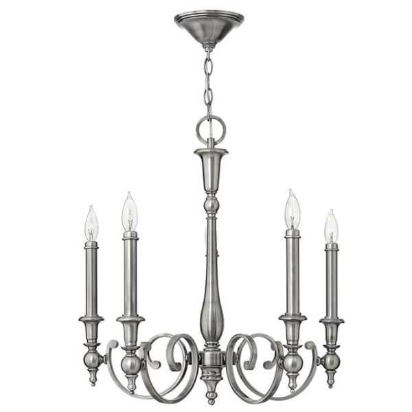 świecznikowy żyrandol srebrny, rustykalny, średniowieczny