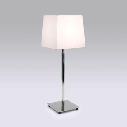 srebrna lampa stołowa z prostokątnym abażurem