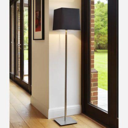 elegancka lampa podłogowa, srebrna, nowoczesna