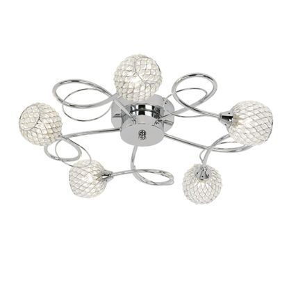 srebrny żyrandol sufitowy ze szklanymi kloszami, elegancki