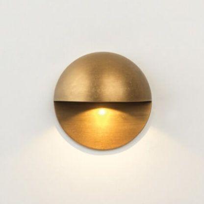 złoty kinkiet natynkowy, mały, okrągły