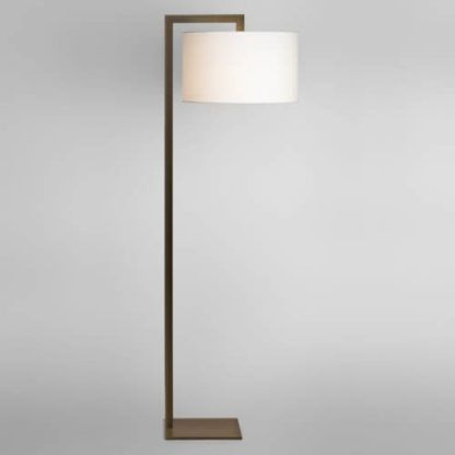 geometryczna lampa podłogowa z jasnym abażurem, brązowa podstawa
