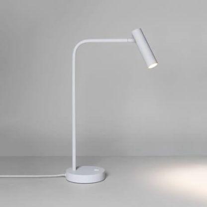nowoczesna, designerska lampa biurkowa, biała