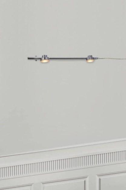 lampa na dwa metalowe klosze, szynowa