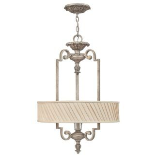 Elegancka lampa wisząca Kingsley - srebrna, plisowany abażur