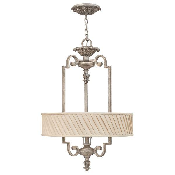 lampa wisząca w stylu antycznym, jasny abażur