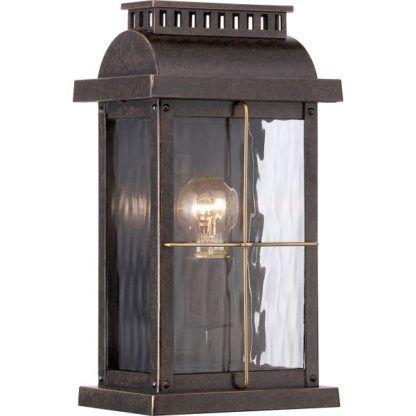 brązowy kinkiet w stylu klasycznym, lampion