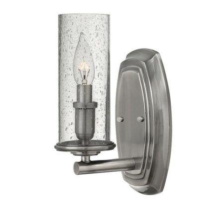klasyczny kinkiet ze szklanym kloszem, srebrny