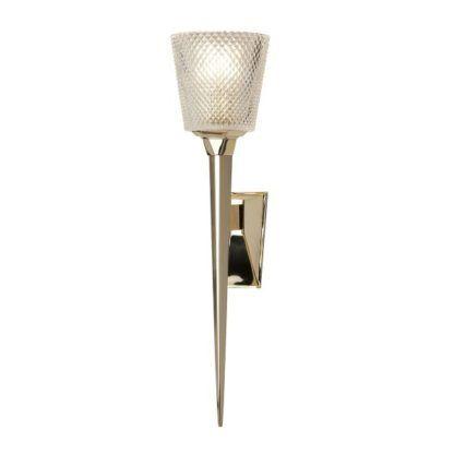 luksusowy kinkiet łazienkowy, złoty ze szklanym kloszem, styl glamour